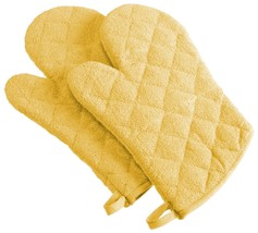 DII 100% Cotton Basic Terry Ovenmitt Set of 2 Yellow NEW Oven Mitt Mit M... - $22.99