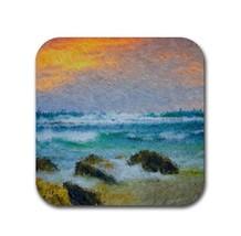 Rubber coasters set of 4, Design 58 Beach Beachy sea ocean blue orange L... - $10.99