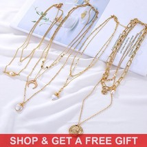 Buy 1 Get 1 Gift Golden Vintage Coin Pendant Choker Women's Multilayer Pearl Boh - $10.30