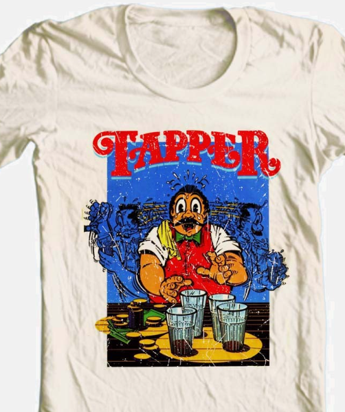 Tapper T-shirt retro arcade video game 80's 100% cotton graphic beige tee
