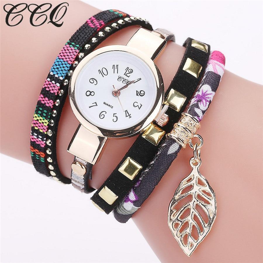 2017 ccq brand women leaf fabric gold wrist watch for women bracelet vintage sport clock quartz