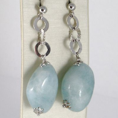 EARRINGS SILVER 925 RHODIUM HANGING WITH AQUAMARINE BLUE NATURAL