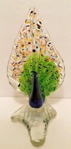 "Blue Peacocks Vase Glass Flowers Floral 8 1/4"" t Birds Home Decor Mantel... - $29.69"