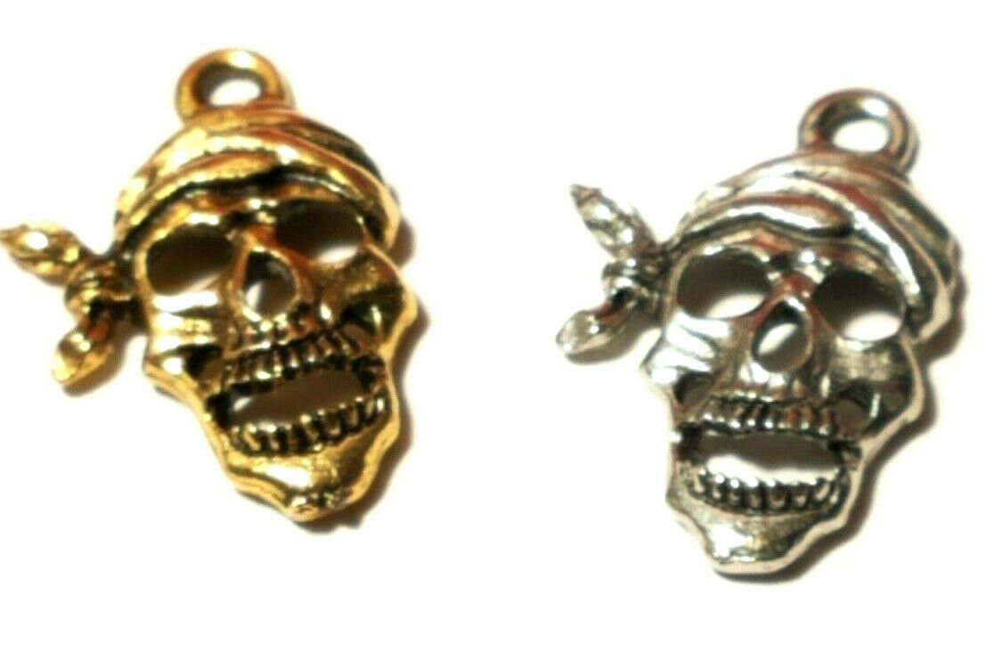 Pirate Skeleton Skull with Bandana Fine Pewter Charm 13mm L x 19.5mm W x 2.5mm D