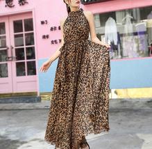 Sleeveless Plus Size Leopard Chiffon Dress Maxi Summer Beach Leopard Dresses image 5