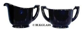 Black Glass Creamer Sugar  Vintage Classic Underbase Starburst  6 Sided ... - $24.99