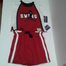 Oshkosh boys 2T summer outfit baseball Red White Blue Swing Batter - $14.00