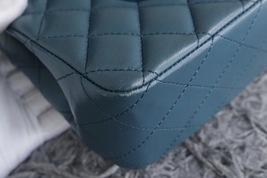 AUTHENTIC CHANEL TURQUOISE BLUE LAMBSKIN MEDIUM DOUBLE FLAP BAG GOLD HW RARE image 5