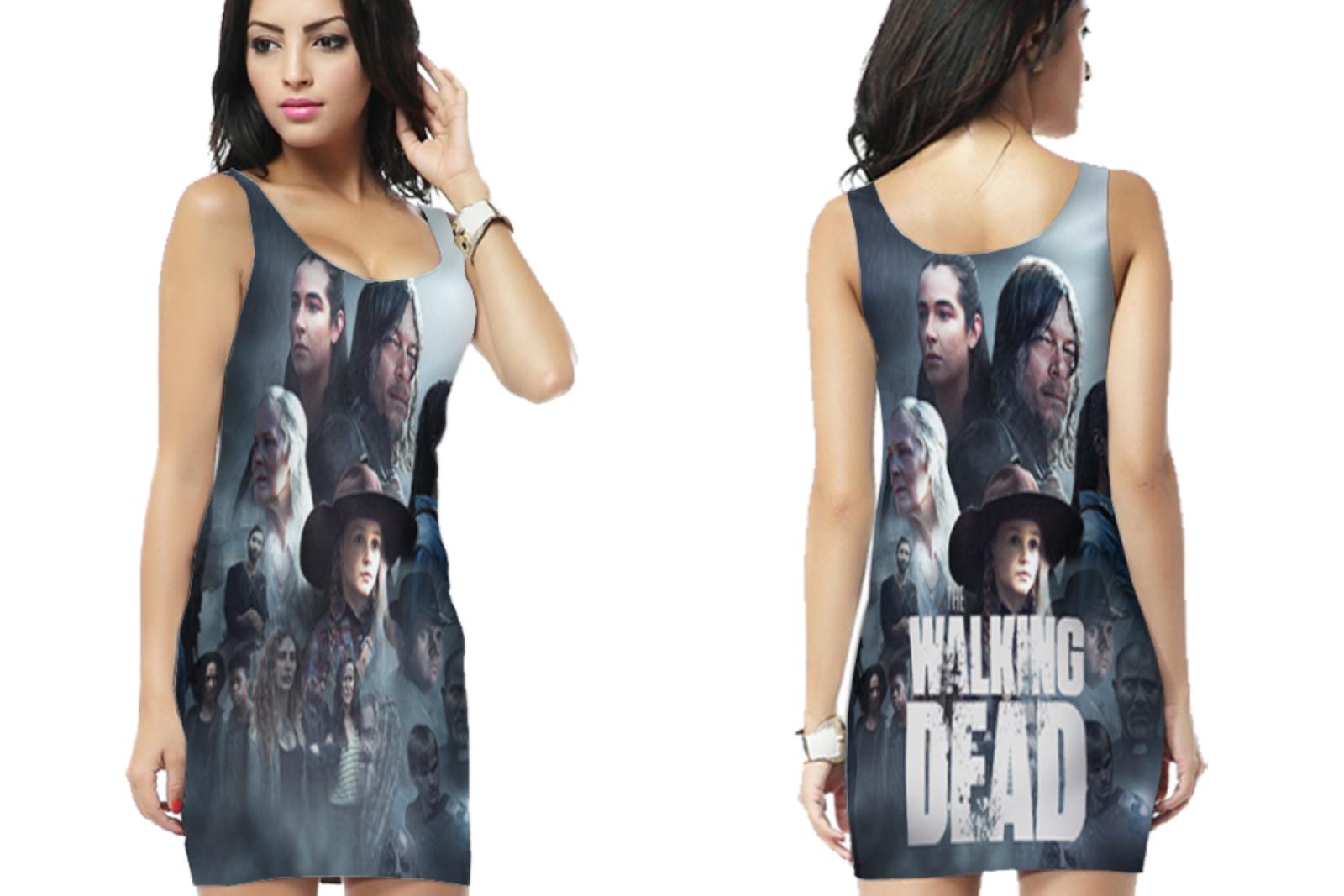 THE WALKING DEAD WOMENS BODYCON SLEEVELESS SHORT MINI DRESS