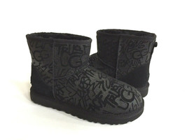 Ugg Mini Street Sparkle Graffiti Black Water Reistant Boot Us 9 / Eu 40 / Uk 7 - $116.88