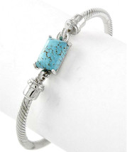 "7.5"" Womens Classic Silver Twisted Cuff Bracelet Turquoise Stone Adjustable - $6.99"