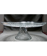"Vintage Wexford Glass Cake Plate Stand Anchor Hocking-""Wexford"" Diamond ... - $21.90"