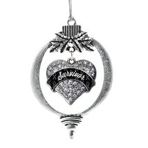 Inspired Silver Black Survivor Pave Heart Holiday Decoration Christmas Tree Orna - $14.69