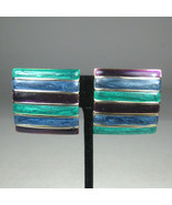 Jay Feinberg Earrings CLIP ON Silvertone Vintage Circa 1980 Enamel Green... - $59.39
