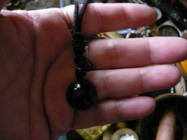 HAUNTED Rare Egyptian Marid Temple Djinn, Female black onyx stone PENDENT - $79.00
