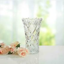 """Mikasa Saturn Crystal Vase 9.25"""" Lead-Free Diamond Patterned Elegant Dec... - $48.99"""