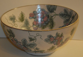 Andrea by Sadek Enamel Decorative Bowl Grapes Grape Designer Gold Gilt N... - $34.99