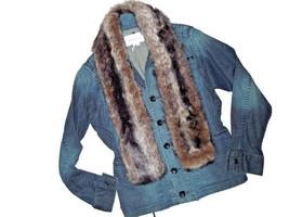BCBG BCBGeneration women's JEAN denim JACKET faux Fur removable Size Sma... - $42.03