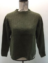 VTG GAP Women Sweater Military Green Crew Neck 100% Lambs Wool Ribbed - $27.27