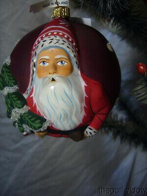 Vaillancourt Folk Art Jingle Ball Ornament  Classic American Santa with Tree