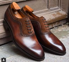Handmade Men's Brown Dress/Formal Leather And Suede Shoes image 1