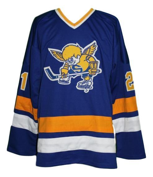 Steve carlson  21 minnesota fighting saints custom hockey jersey blue   1