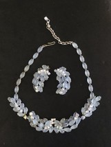 Vintage Signed Frost Blue Cabochon Glass & Rhinestone Necklace & Earrings - $39.74