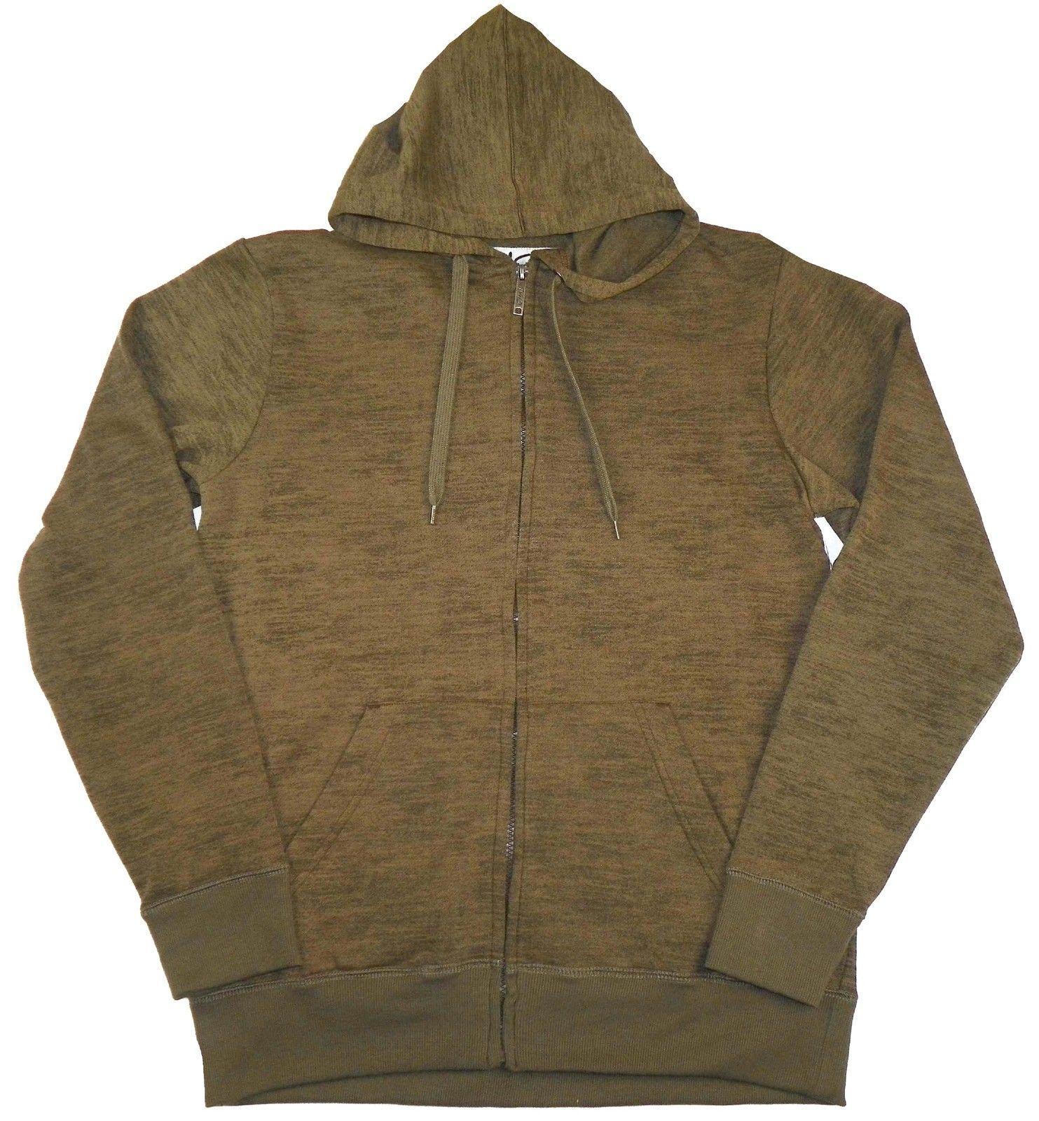 Men's Hoodie CHALC Brand Full Zip Hooded Sweatshirt Heathered Brown NEW