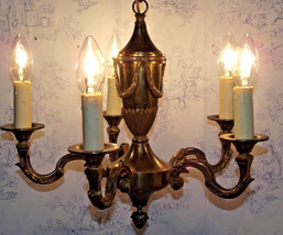 Vintage French Bronze Empire Style 5 Arm Chandelier 1930s  - $170.00