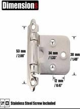 1/2 Inch Overlay Cabinet Door Hinges, Flush Cabinet Hinges, 20 Pack Satin Nickel image 2