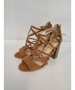 Brash Womens Sandals Size 7W Brown Block Heel Zip Back Open Toe Adjustable - $44.99