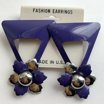 Vintage Big Funky Purple Enamel Flower Triangle Earrings Silver Tone NOS... - $16.79