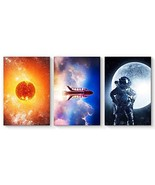 SIGNFORD 3 Panel Canvas Wall Art Rocket with Astronaut Child Canvas Pain... - $79.22