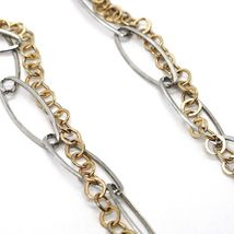 Necklace Silver 925, Double Chain, White and Yellow,Rectangle Fringe,Hanging image 4