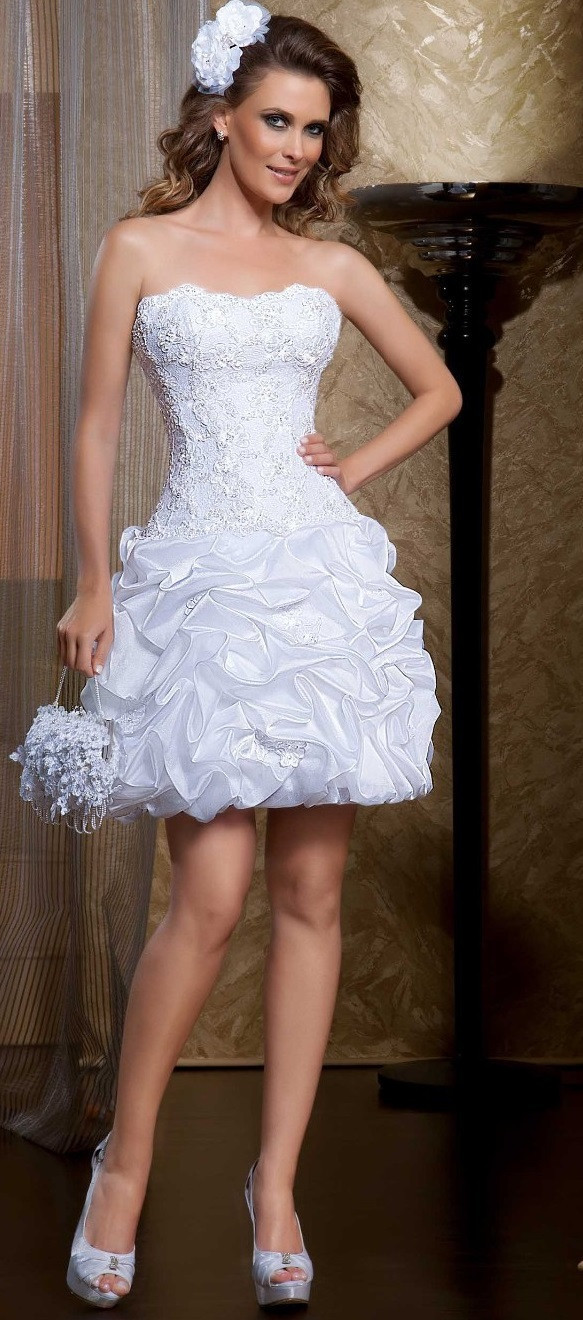 Ruffled Lace Strapless  two in one Wedding Dresses with Removable Skirt image 4