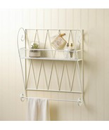 White Wire Basket Wall Shelf w/ Hanging Bar for Hand Towel - $52.95