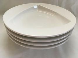 "4 Homer Laughlin Pristine 11"" White Pasta Bowl Plates Triangle Center Rimmed  - $61.91"