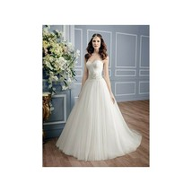 Moonlight Bridal Gown PB6452 Applique Bodice Lace Wedding Dress  Ivory S... - $266.41