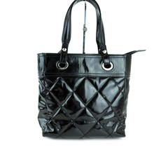Auth Chanel Quilted Black Patent Leather Tote Hand Bag Shoulder Bag Ital... - $593.01