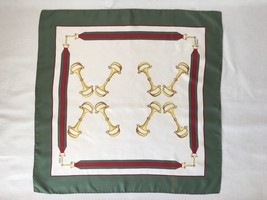 Gucci Original Iconic Green Equestrian Scarf with Gold Horse Bit Design.... - $222.75