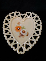 Vintage Unusual Westmoreland Cream Milk Glass Heart Shaped Hand-Painted Tray - $26.00