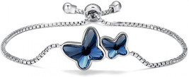 T400 925 Sterling Silver Blue Butterfly Bangle Bracelet Made with Crysta... - $86.42
