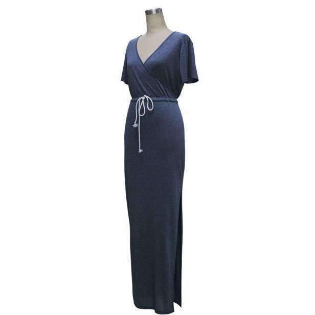 Casual V-Neck High Slit Women Long Dress