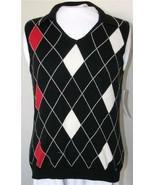 Liz Claiborne Sweater Vest Top Medium Liz Golf Black White Red Argyle NEW - $17.41