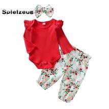 3Pcs Newborn Infant Baby Girls Clothes Ruffles Long Sleeve Solid Romper - $26.63+