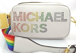 AUTHENTIC NWT MICHAEL KORS $278 LEATHER LACEY RAINBOW WHITE CAMERA CROSS... - $99.99