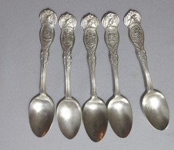 VTG WM Rogers Silver Plate State Seal 5 Spoons CA., TX, NY, NJ, NY Estate - $25.00