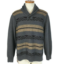 Docker's Men Sweater Size Large Gray Pullover Cotton One Button - $12.59