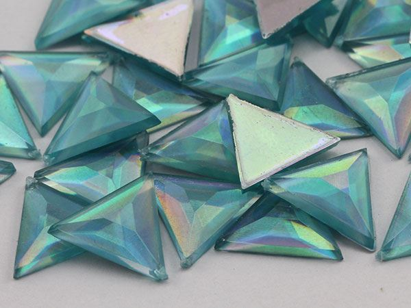 13mm Blue Aqua Lite AB Flat Back Triangle Acrylic Gemstones - 50 Pieces