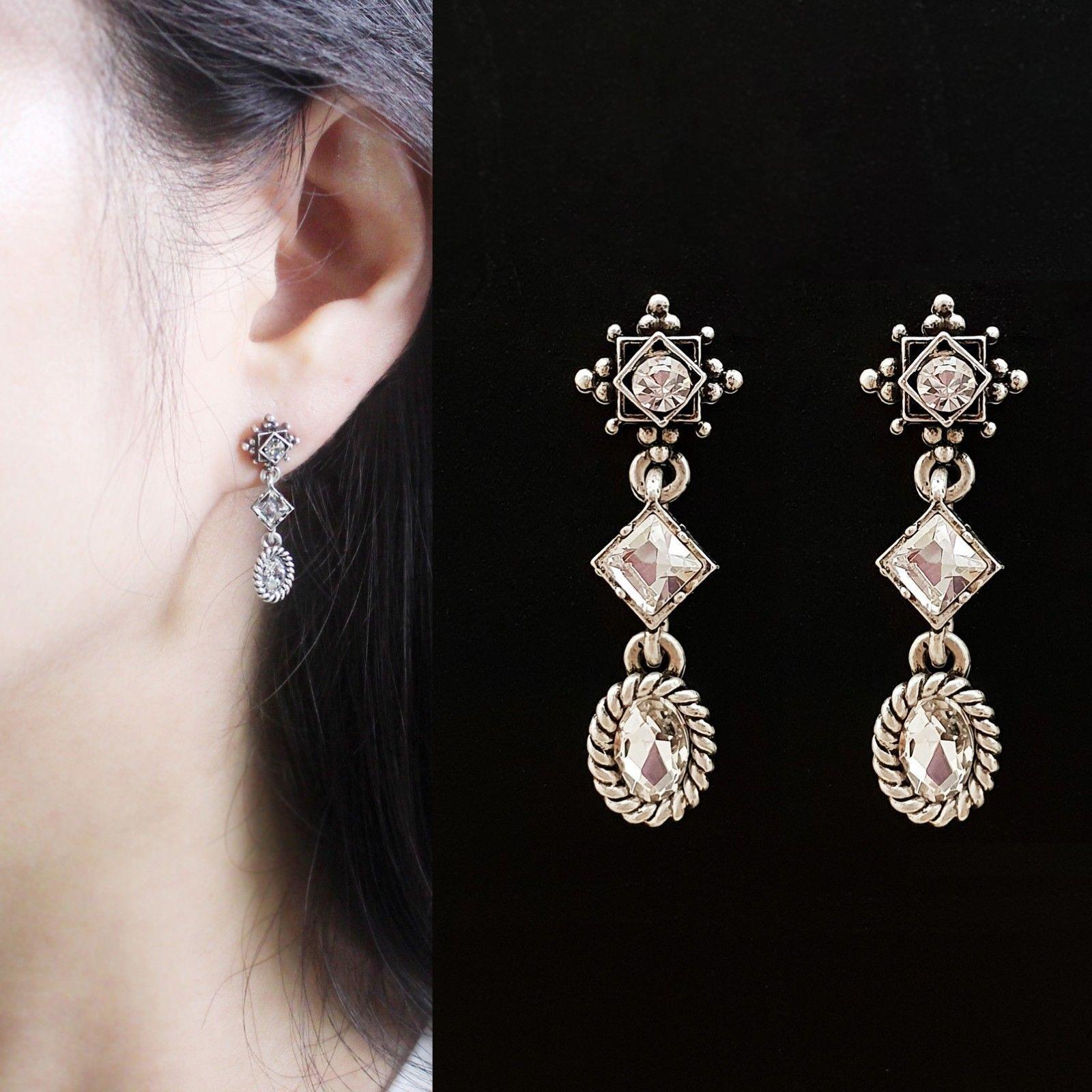 3 Tiered Oval Rhombus Dangle Earrings Made With Swarovski Stone 925 Silver Ear